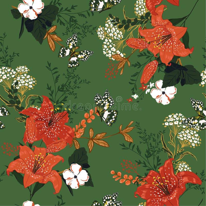 Beau floral doux et doux romantique dans le gaerden, lis, m illustration libre de droits