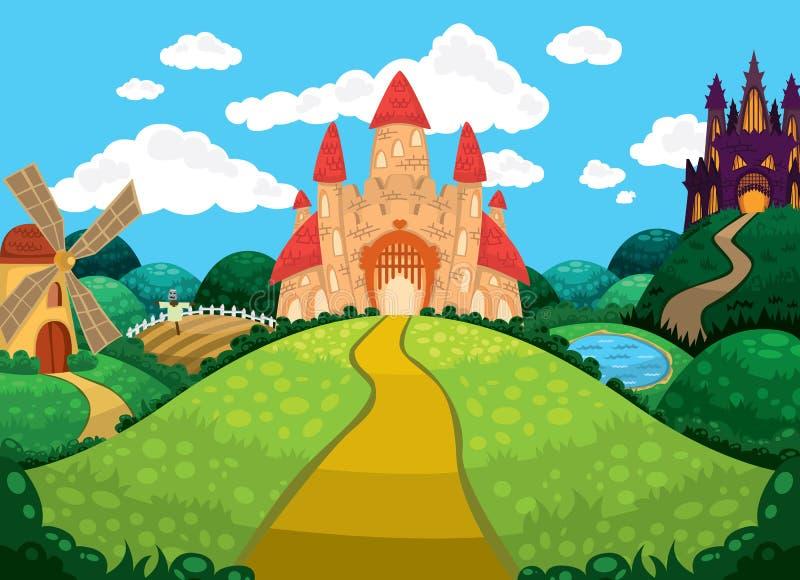Beau fond avec les châteaux, l'étang, le moulin et les champs illustration libre de droits