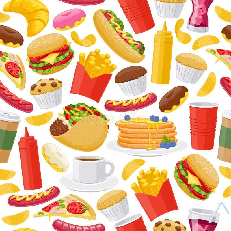 Beau fond d'icônes d'aliments de préparation rapide illustration libre de droits