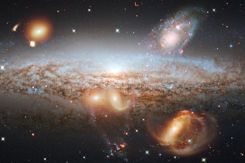 Beau fond de galaxie avec la nébuleuse, les chimères et les étoiles lumineuses Éléments de cette image meublés par la NASA illustration libre de droits