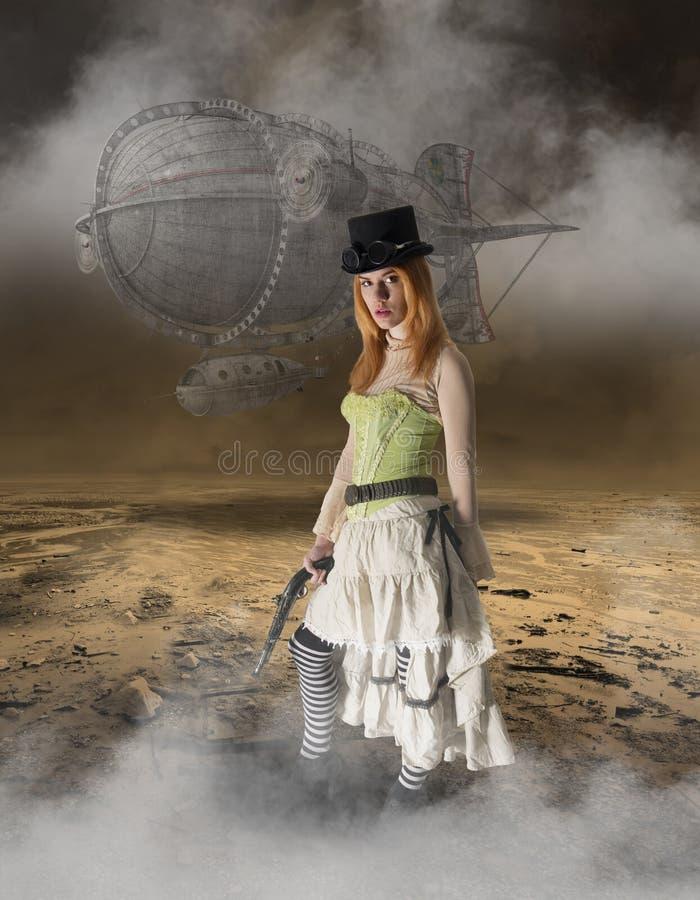 Beau fond de grunge de femme de Steampunk image libre de droits