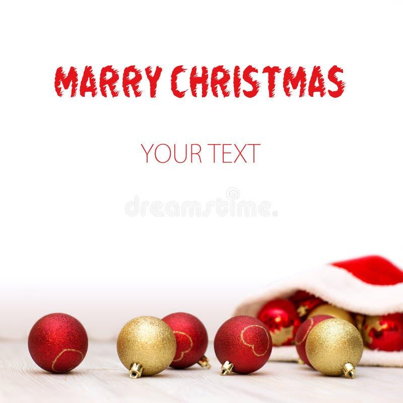 Beau fond de Noël avec le chapeau de Santa Claus photographie stock