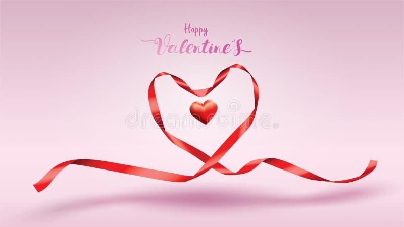 Beau fond de Saint-Valentin avec les rubans en soie rouges et la couleur douce de coeurs de forme concept mignon et ensemble de c illustration stock