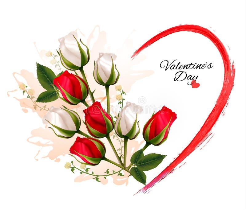 Beau fond de Saint-Valentin heureuse avec des roses illustration libre de droits