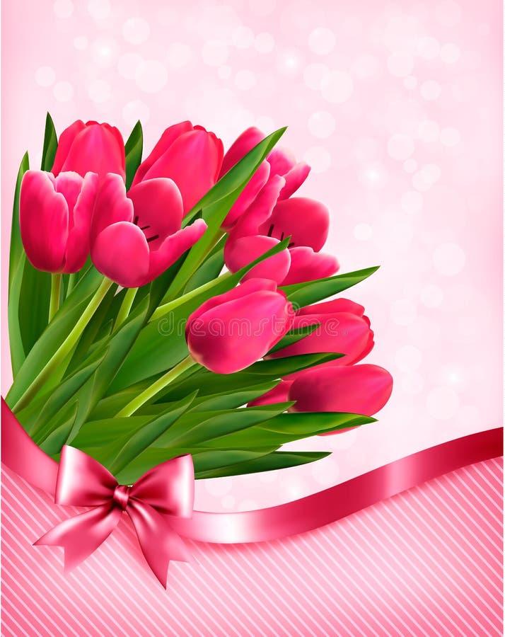 Beau fond de tulipes roses illustration stock