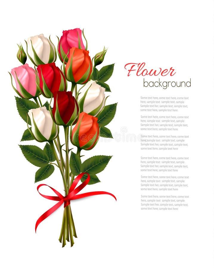 Beau fond de Valentine de jour heureux du ` s avec des roses illustration libre de droits