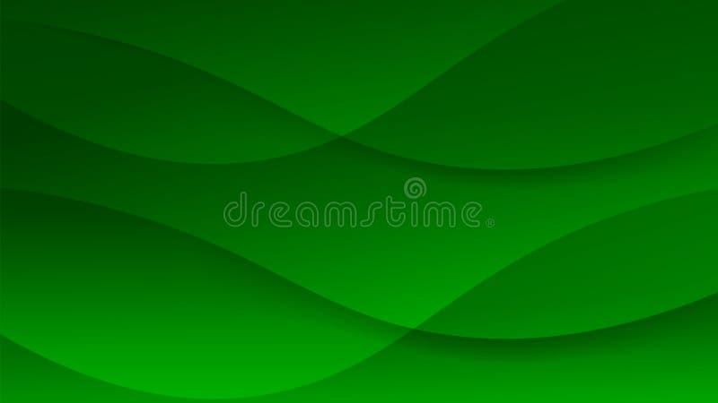 Beau fond graphique mou vert-foncé futuriste Le certificat abstrait moderne d'acta avec doux lissent des lignes disposition de va illustration de vecteur