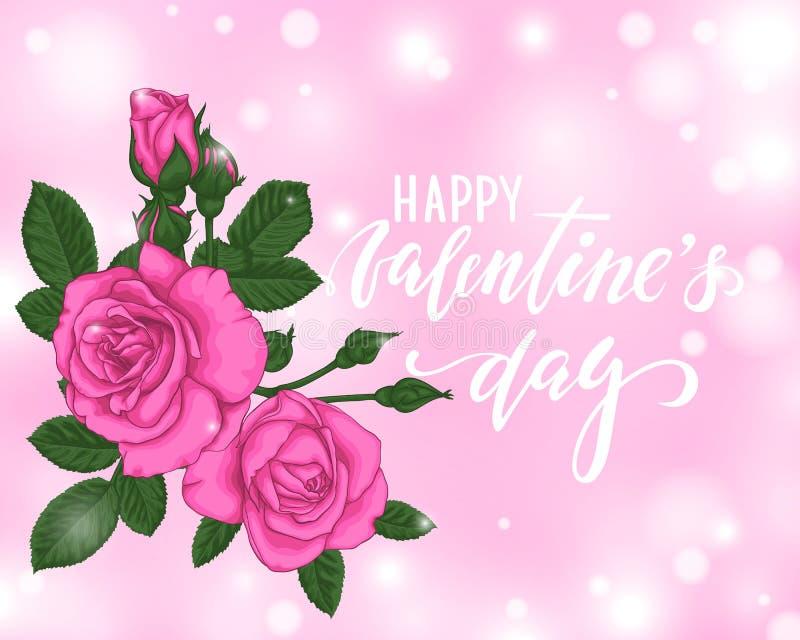 Beau fond rose de bokeh de roses Jour de valentines heureux Lettrage tiré par la main de stylo de brosse carte de voeux de concep illustration de vecteur