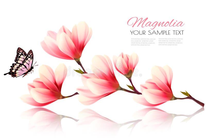 Beau fond rose de magnolia avec le papillon illustration de vecteur