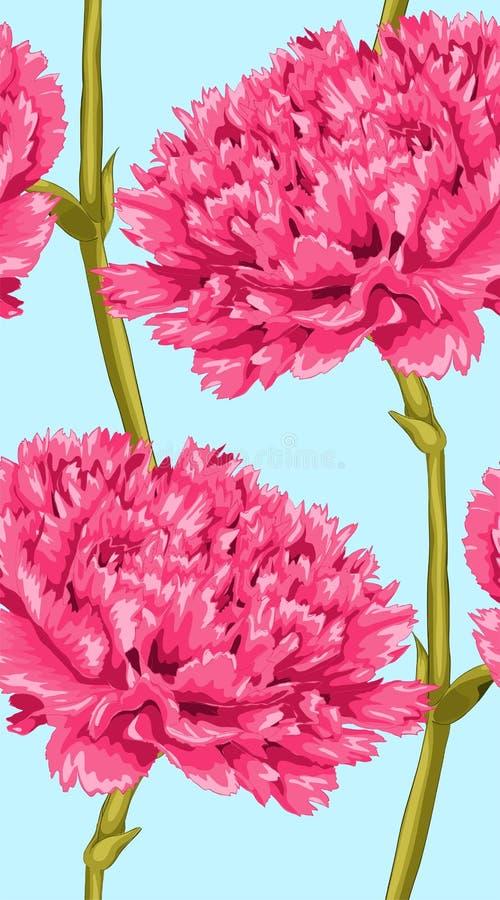 Beau fond sans couture avec l'oeillet rose illustration stock