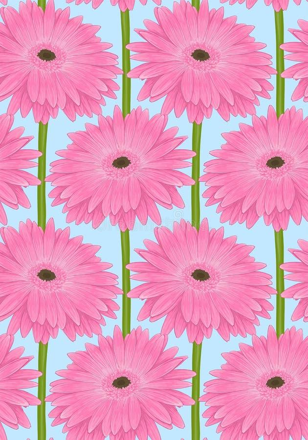 Beau fond sans couture avec la fleur rose de gerbera de - Rose avec tige ...