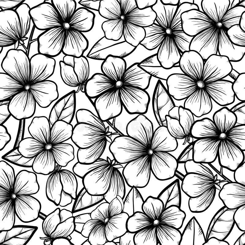 Beau fond sans couture dans le style noir et blanc. Branches se développantes des arbres. Fleurs d'ensemble. Symbole de ressort. illustration de vecteur
