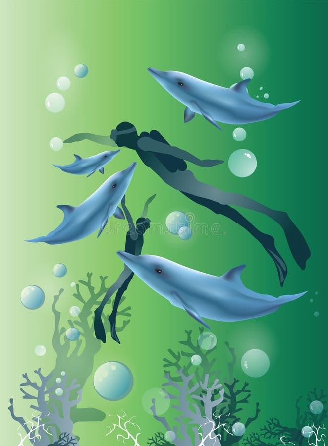 Beau fond vert avec la natation et les dauphins de plongeur illustration stock