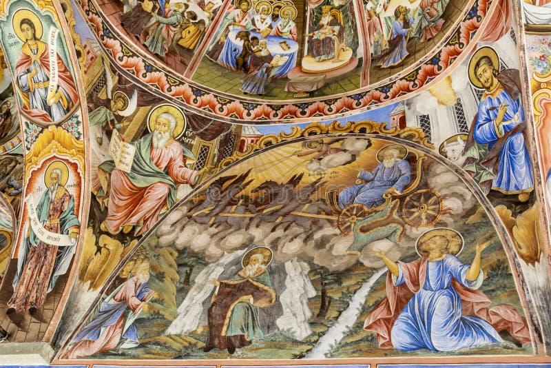Beau fresque antique sur le mur à l'église de monastère de Rila photographie stock