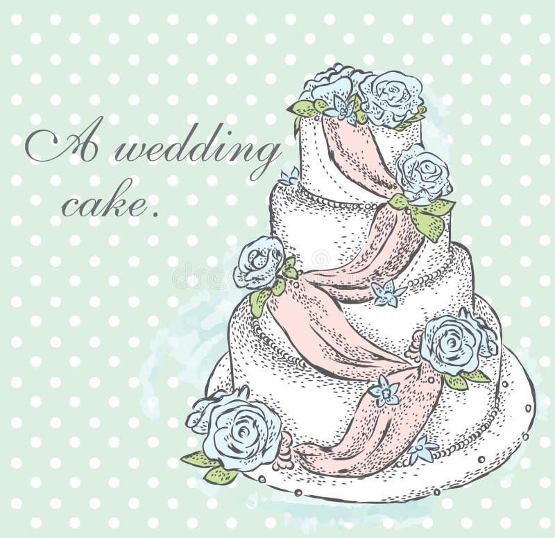 Beau gâteau de mariage illustration libre de droits