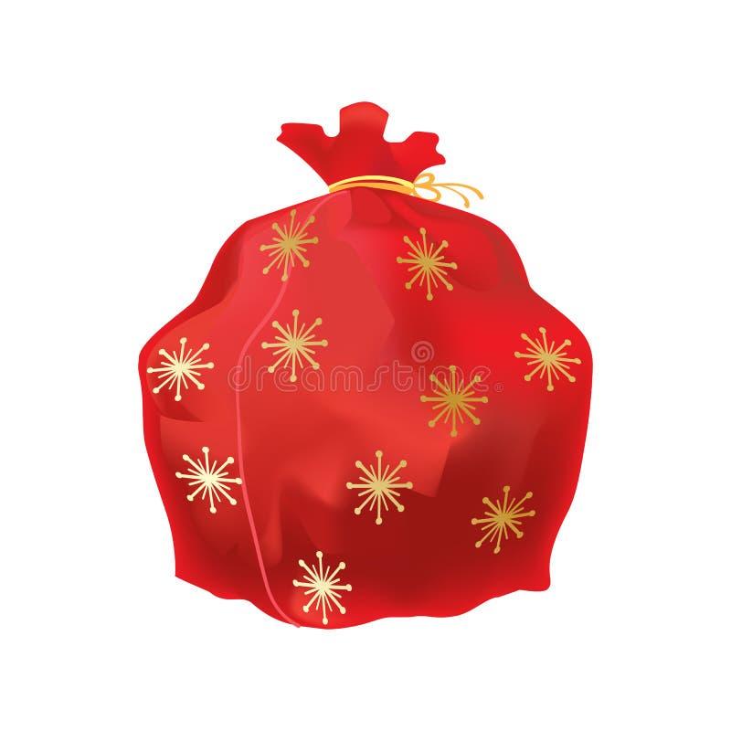 Beau, grand sac de fête du ` s de nouvelle année, avec des cadeaux et surprise illustration stock