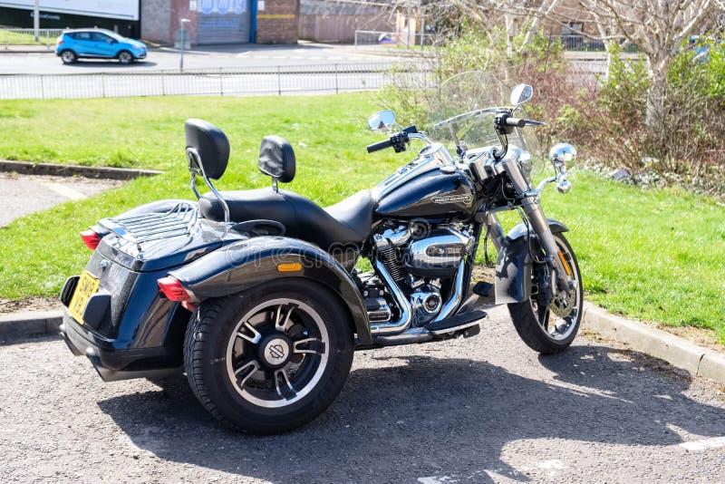 Beau Harley Davidson Tricycle Parked à Dundee Ecosse photo libre de droits