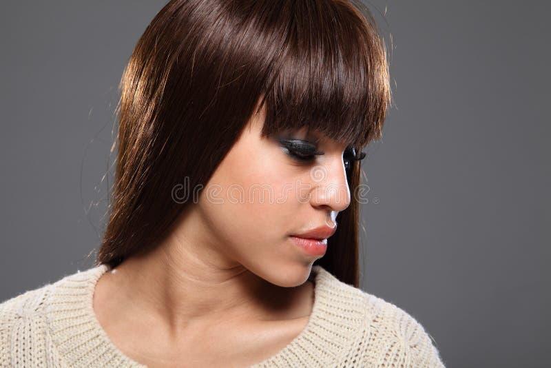 Beau headshot de jeune fille afro-caraïbe photographie stock libre de droits