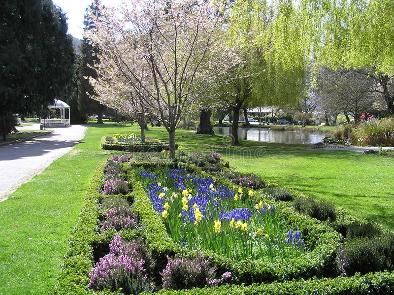 Beau jardin de fleur en Nouvelle Zélande image libre de droits