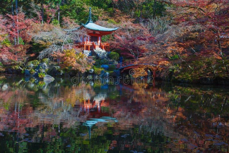 Beau jardin japonais dans la saison d'automne au temple de Daigoji de patrimoine mondial photo stock