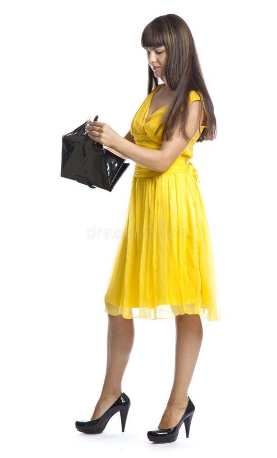 beau jaune de femme de robe photographie stock