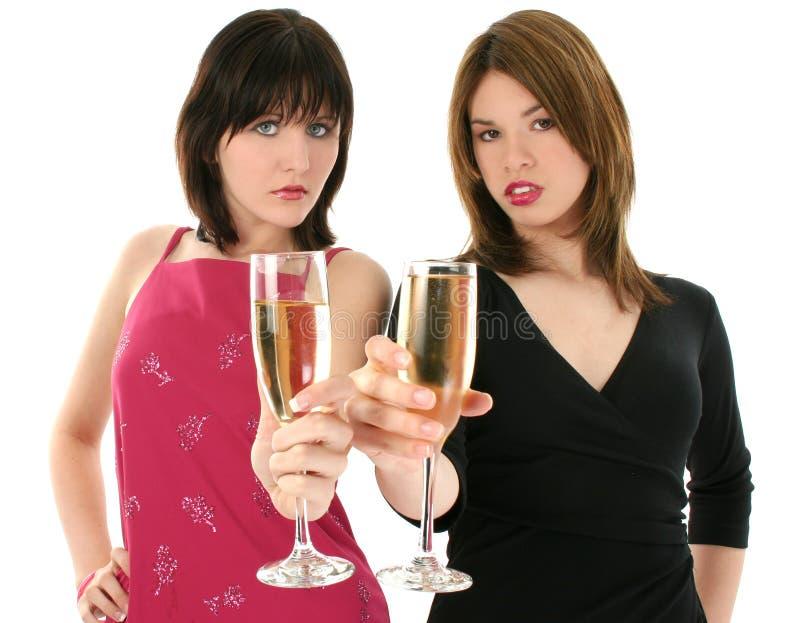 Beau jeune femme avec Champagne photographie stock libre de droits