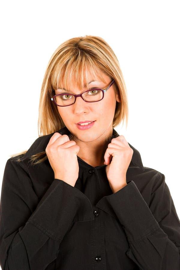 Beau jeune femme avec des lunettes photo stock