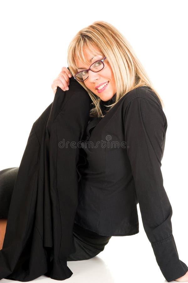 Beau jeune femme avec des lunettes images libres de droits