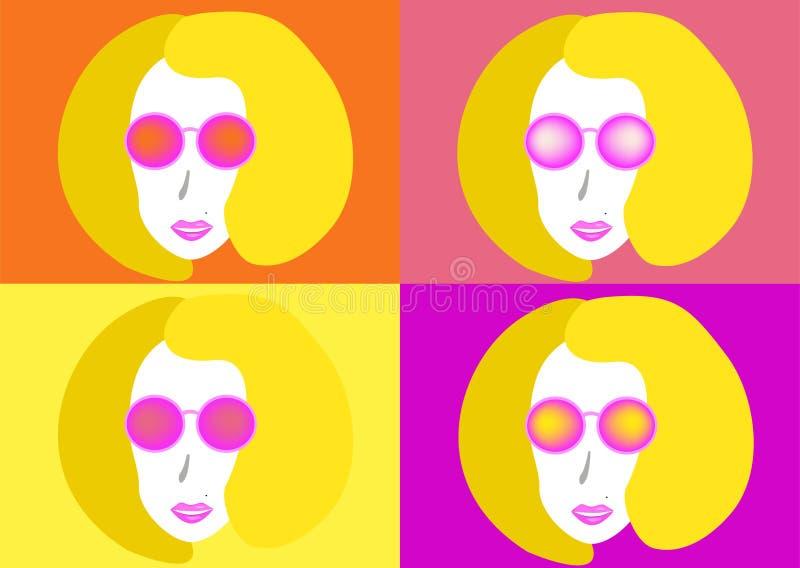 Beau jeune femme avec des lunettes de soleil illustration de vecteur