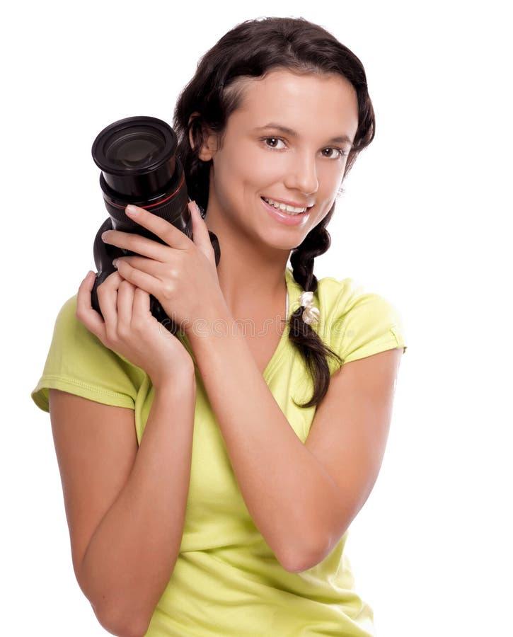 Beau jeune femme avec l'appareil-photo image libre de droits