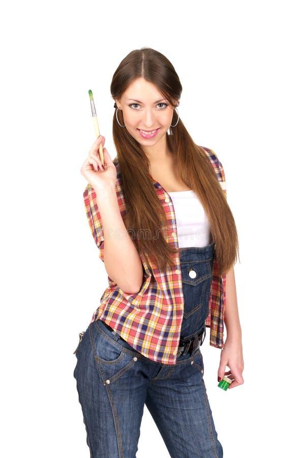 Beau jeune femme avec la peinture photo libre de droits