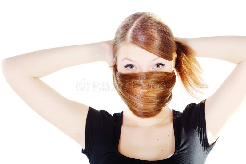 Beau jeune femme avec le long cheveu brillant photos libres de droits