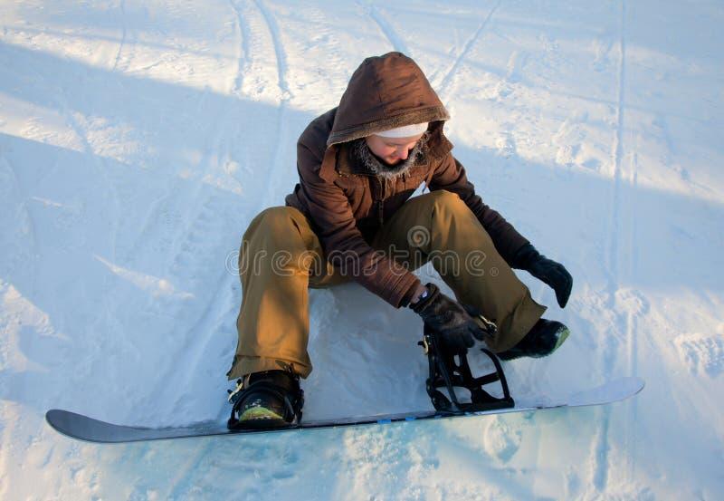 Beau jeune femme avec le Snowboard photos libres de droits