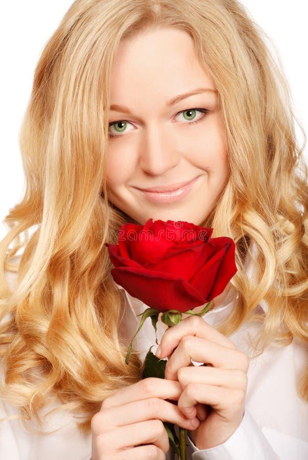 Beau jeune femme avec Rose rouge images libres de droits