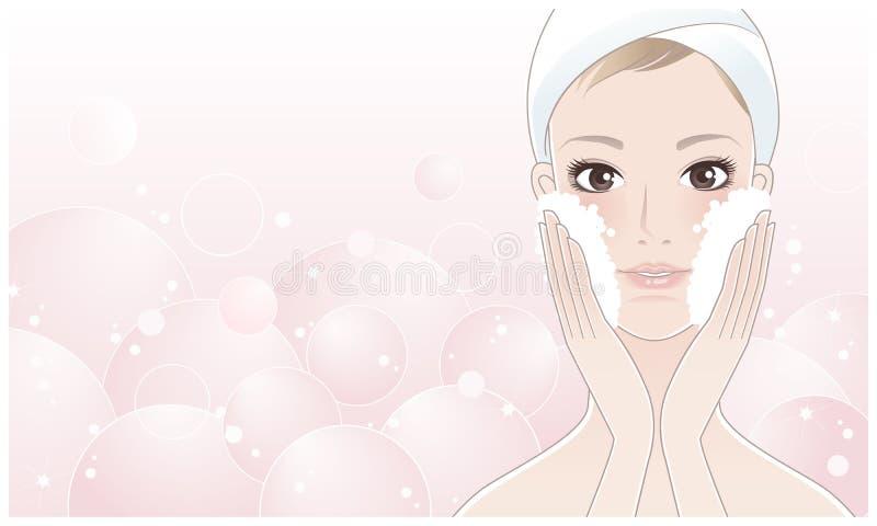 Beau jeune femme se lavant le visage illustration libre de droits