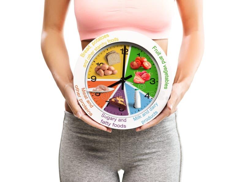 Beau, jeune femme tenant une horloge avec le programme de nourriture photo stock
