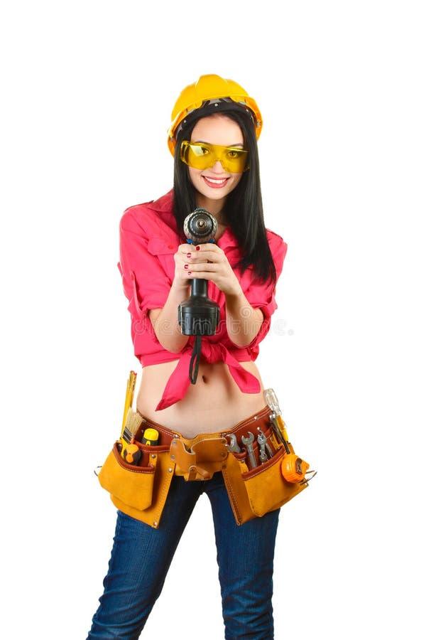 Beau jeune foret de fixation de fille-constructeur photographie stock libre de droits