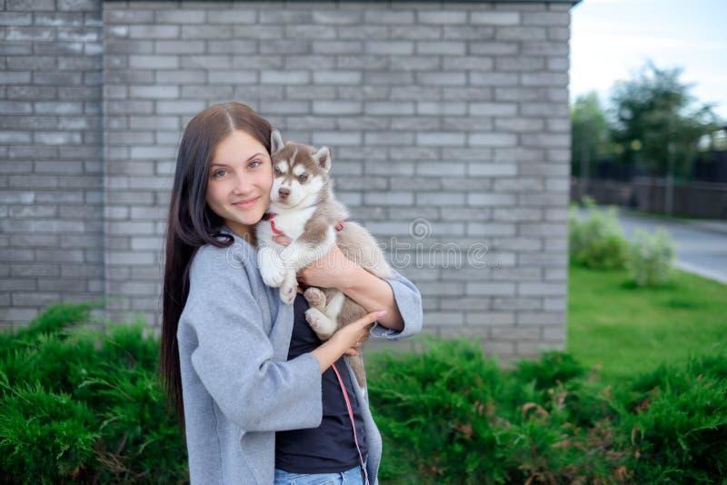 Beau jeune heureux de jolie femme avec de longs cheveux sombres tenant le petit chiot de chien sur le fond de ville de rue photo libre de droits