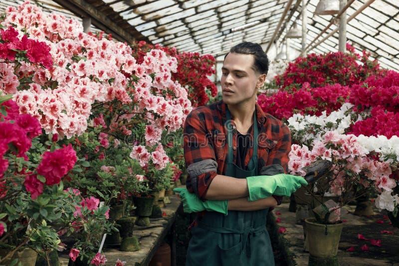 Beau jeune homme beau dans des vêtements de travail avec la coiffure à la mode dans les gants verts de jardin photos libres de droits