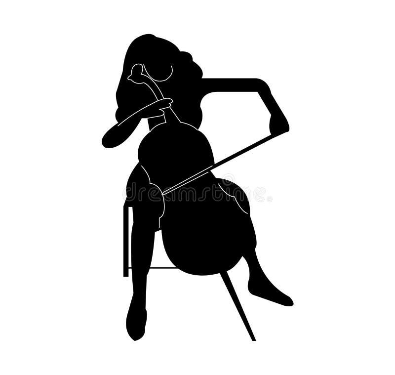 Beau joueur féminin de violoncelle illustration stock