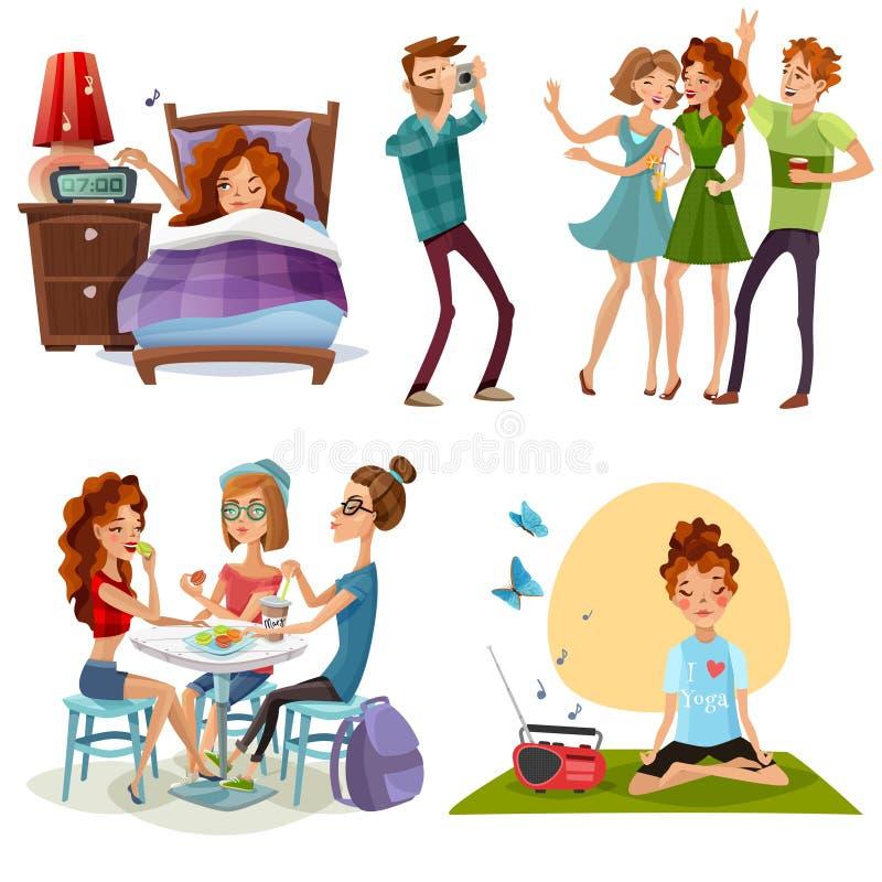 Beau jour avec des amis 4 icônes illustration libre de droits