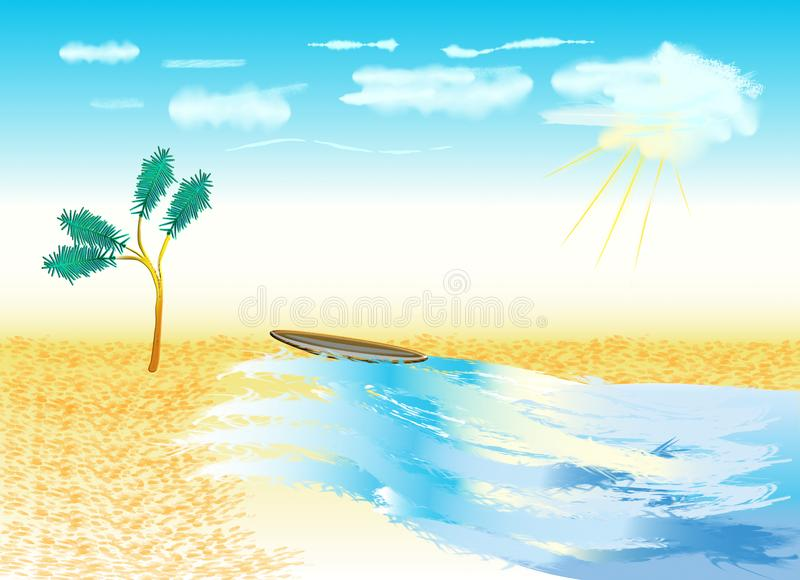 Beau jour ensoleill? ? la plage illustration stock