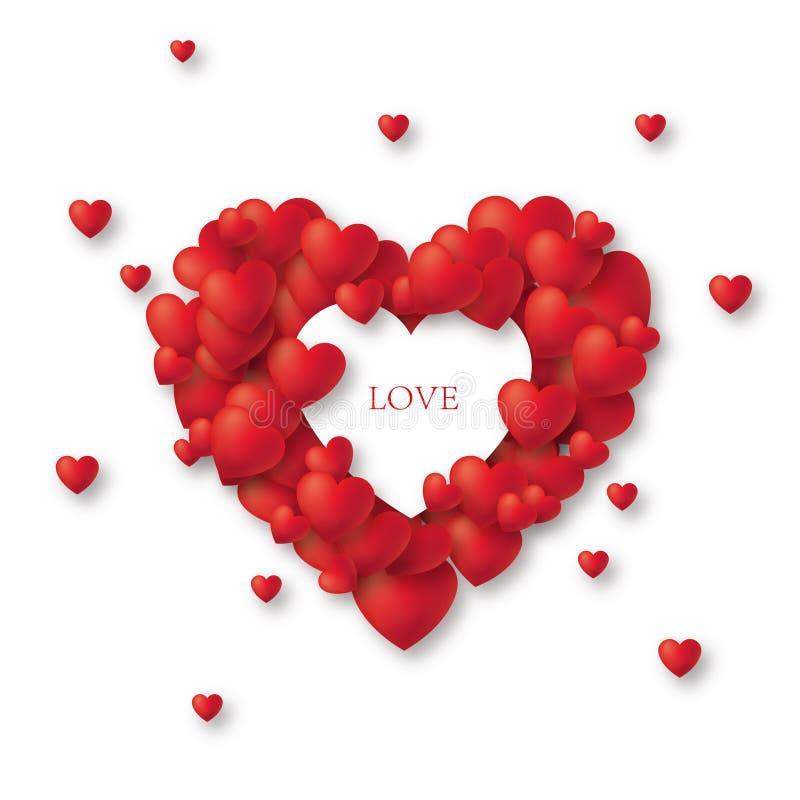 Beau jour rouge du ` s de Valentine de coeur avec le vecteur de prime des textes illustration libre de droits