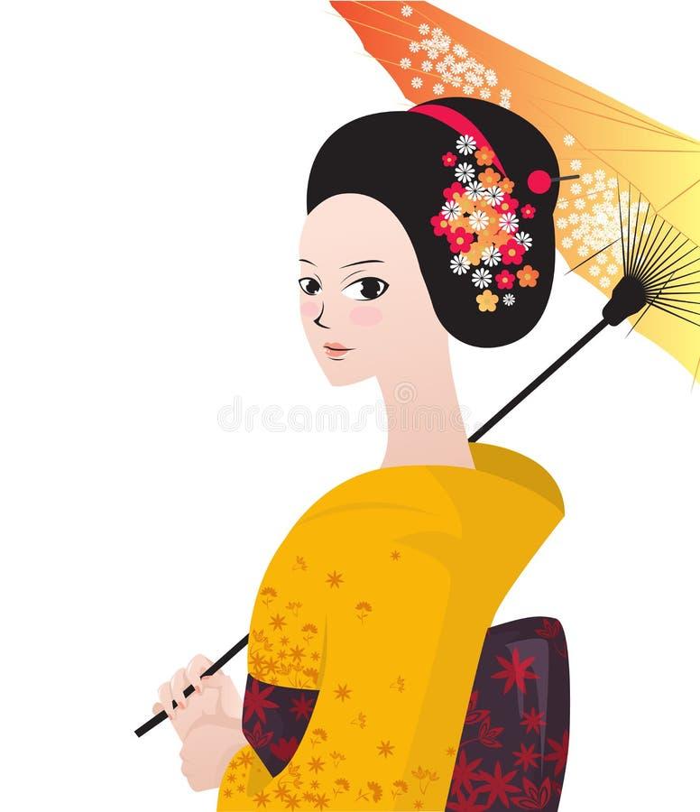 Beau kimono japonais d'usage de femme illustration libre de droits
