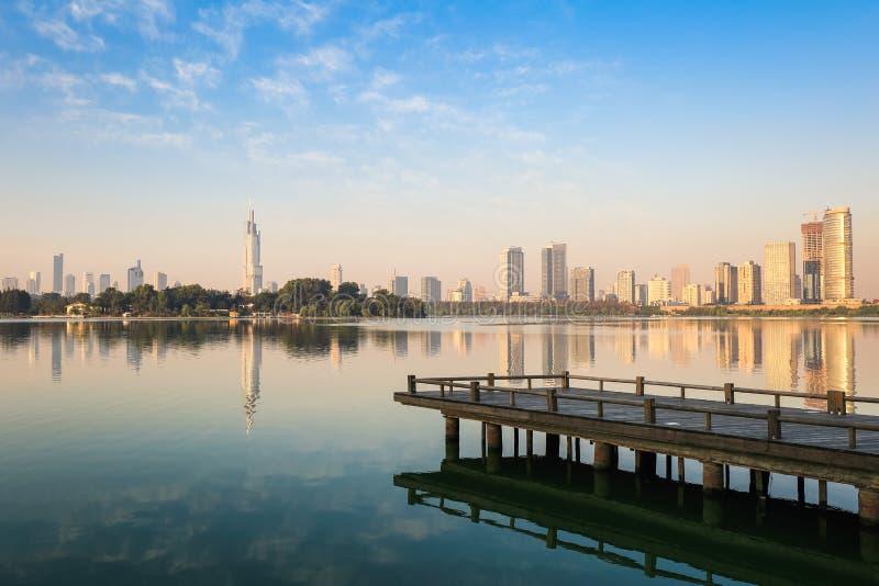 Beau lac à Nanjing photos libres de droits