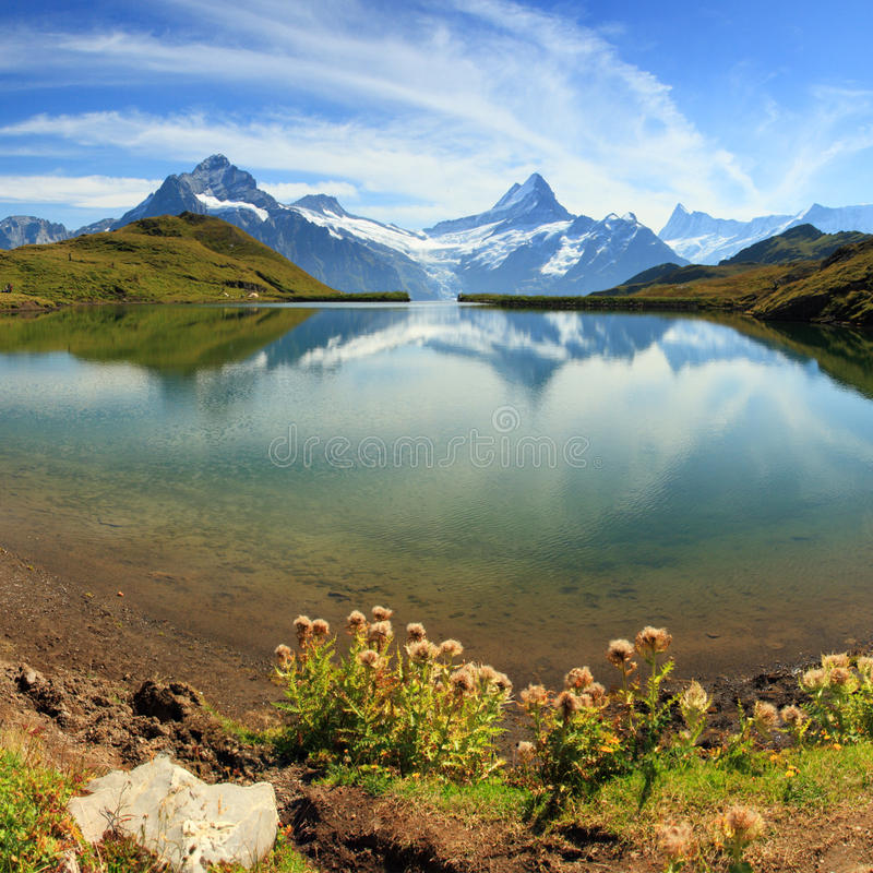 Beau lac avec la réflexion suisse de montagne image stock
