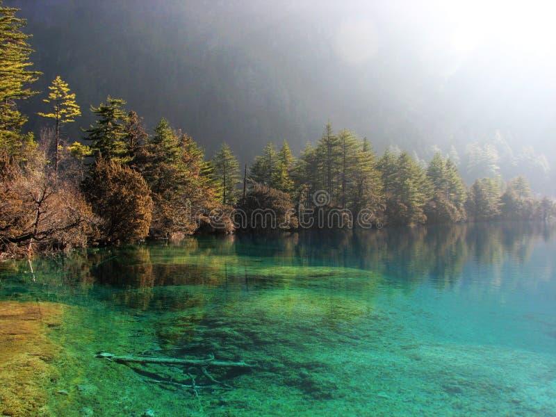 Beau lac dans Jiuzhai images libres de droits