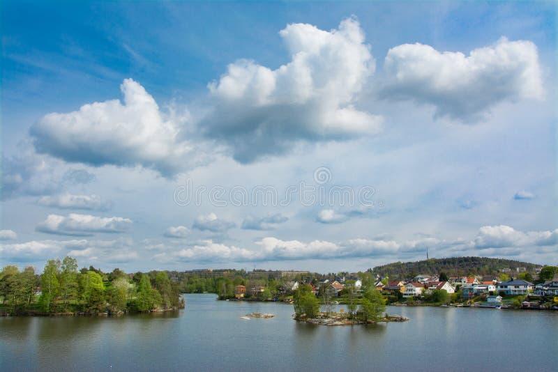 Beau lac dans la mousse, Norvège photographie stock