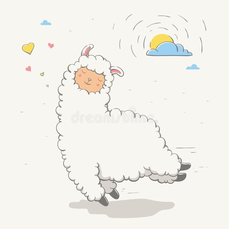 Beau lama/guanaco sautant mignon avec des coeurs et le soleil derrière un nuage Animal de bande dessinée d'amour illustration stock