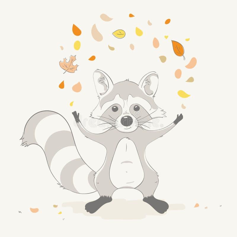 Beau lancer mignon de garçon de raton laveur les feuilles d'automne Animal de bande dessinée d'automne illustration stock